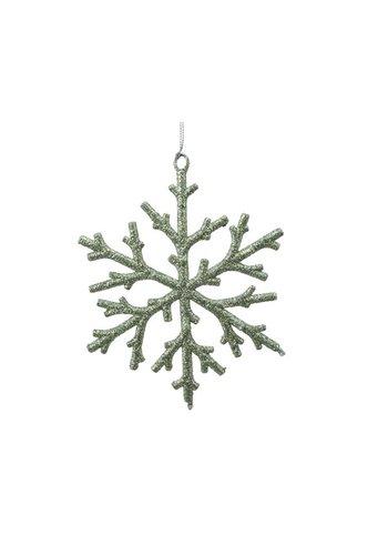 Decoris Plastic sneeuwvlok saliegroen
