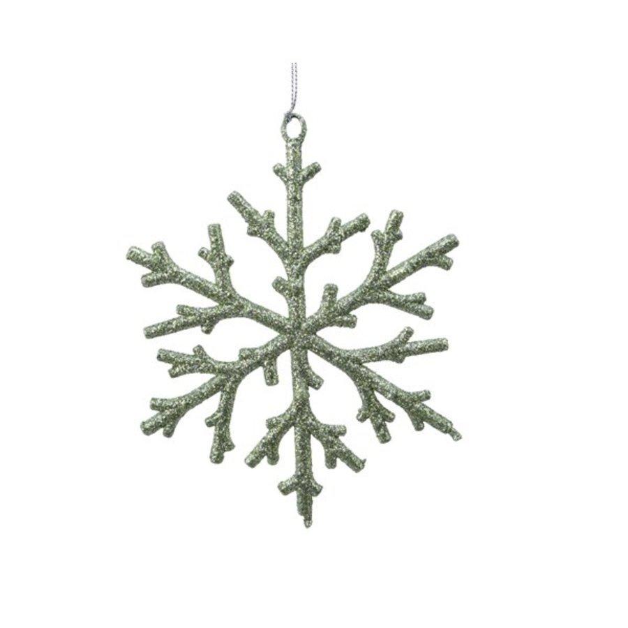 Plastic sneeuwvlok saliegroen-1