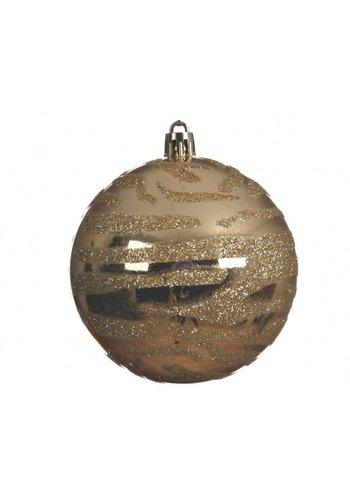 Decoris Kerstbal plastic 8cm zebra goud