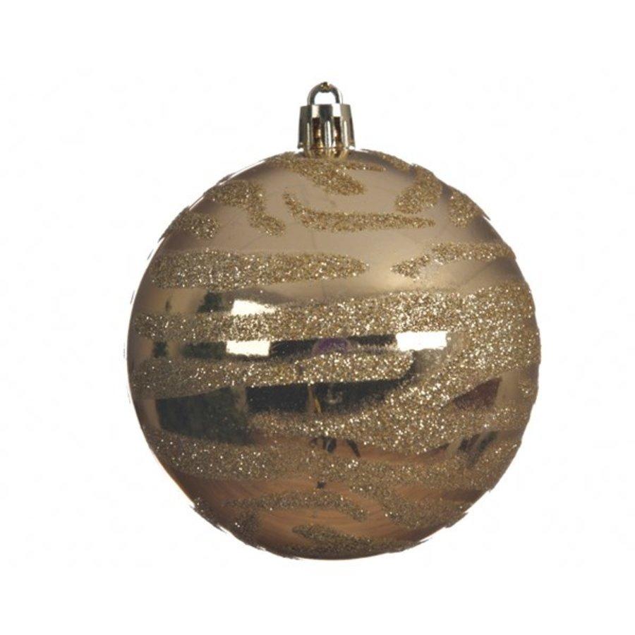 Kerstbal plastic 8cm zebra goud-1