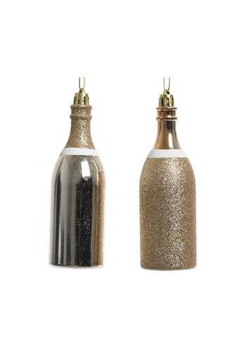 Decoris Champagnefles plastic parel 13cm 2ass