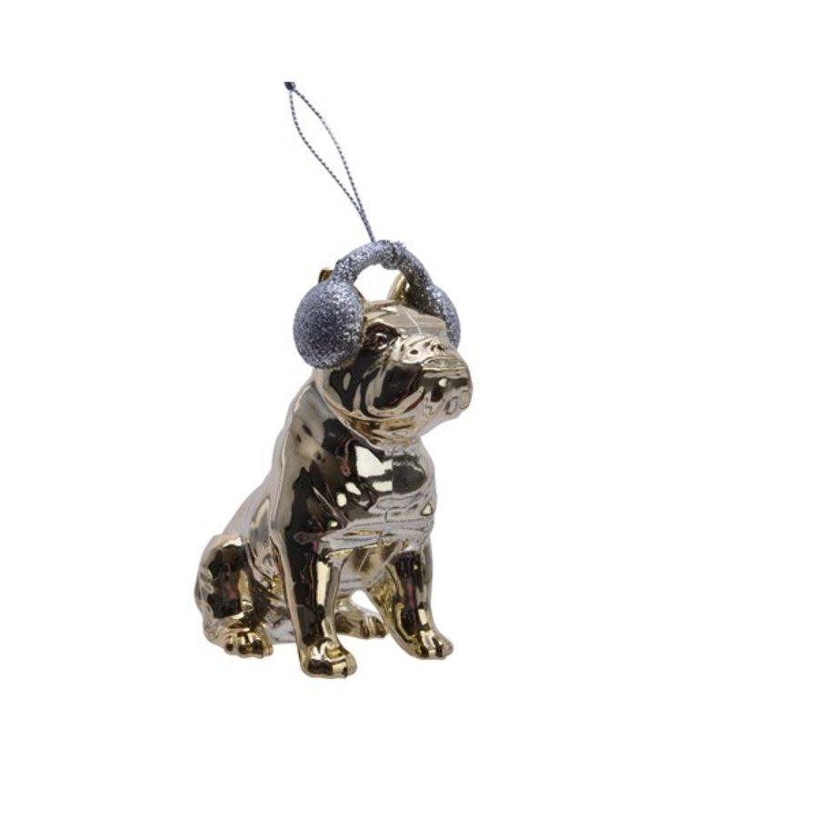 Bulldog met koptelefoon hanger 10cm goud-1