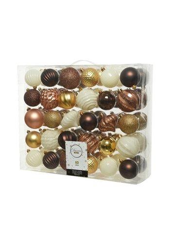 Decoris Kerstballen plastic mix /60