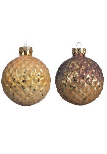 Decoris Kerstbal glas 8cm 2ass kleur /3