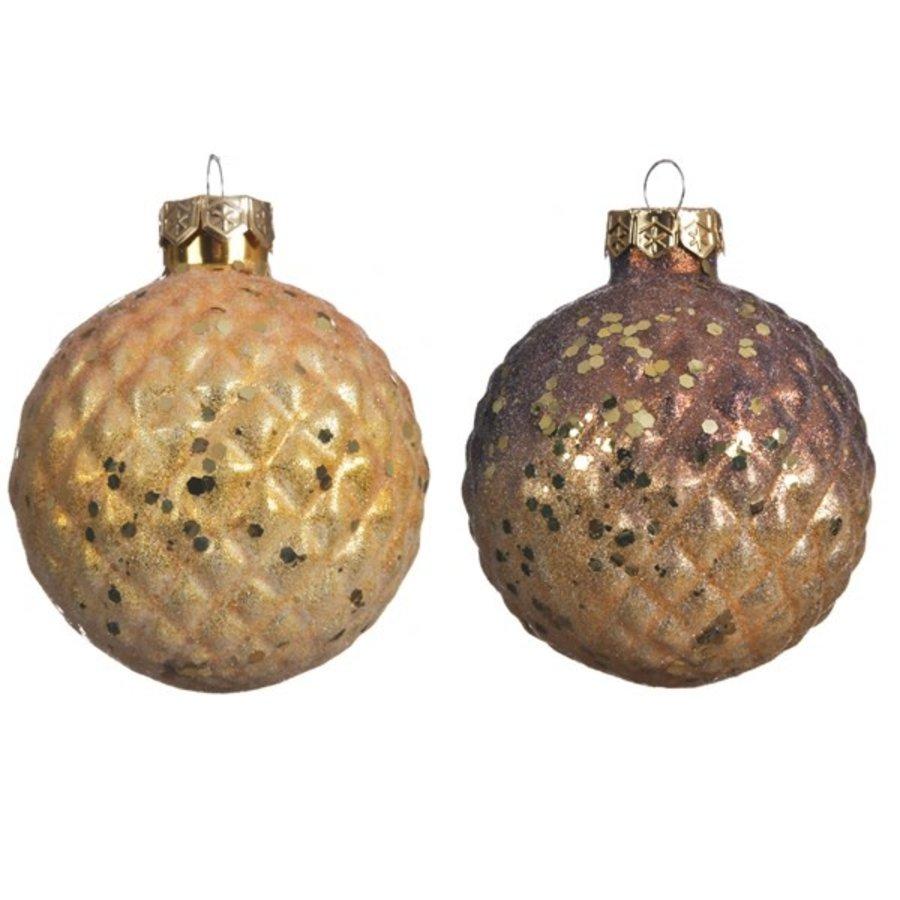 Kerstbal glas 8cm 2ass kleur /3-1