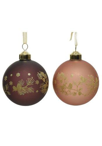 Decoris Kerstbal glas 8cm 2ass
