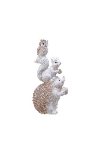 Decoris Beeld met egel, eekhoorn en uil