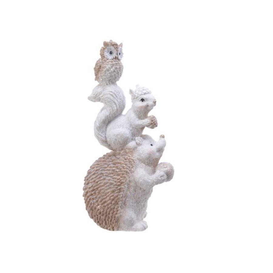 Beeld met egel, eekhoorn en uil-1