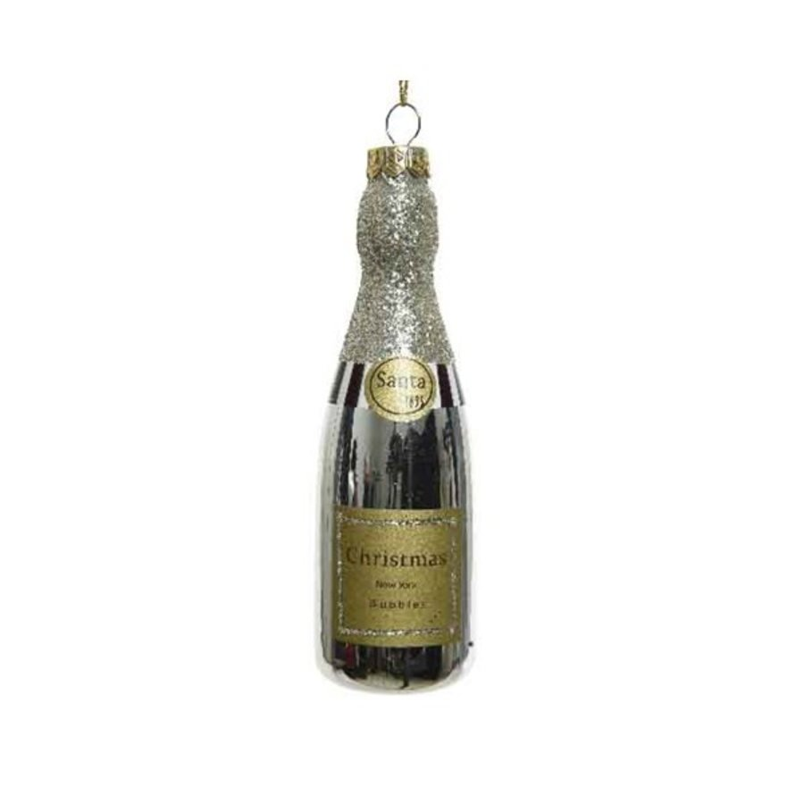 Champagne glas hanger goud 4x12.6cm-1