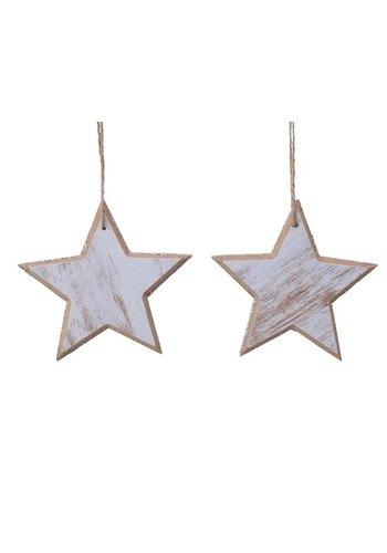 Decoris Set/2 sterren met hanger 12cm