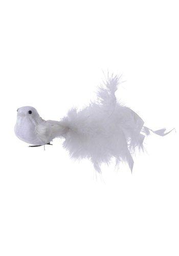 Decoris Vogel met veren op clip, wit