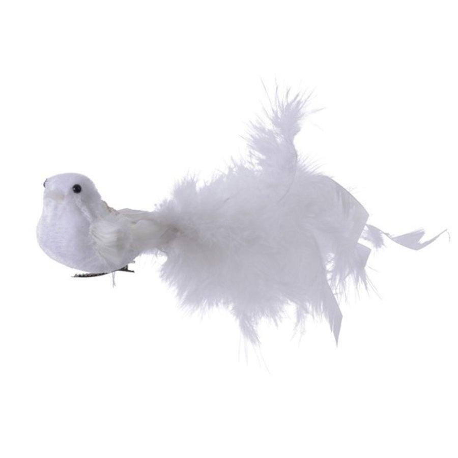 Vogel met veren op clip, wit-1