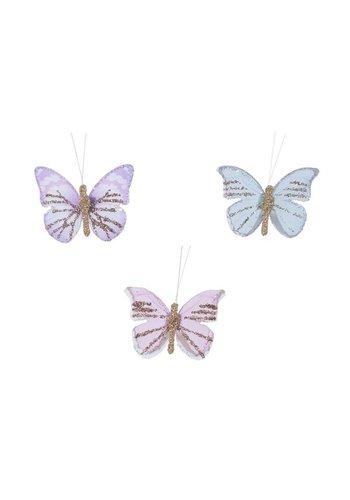Decoris Set/12 vlinders veer glitter