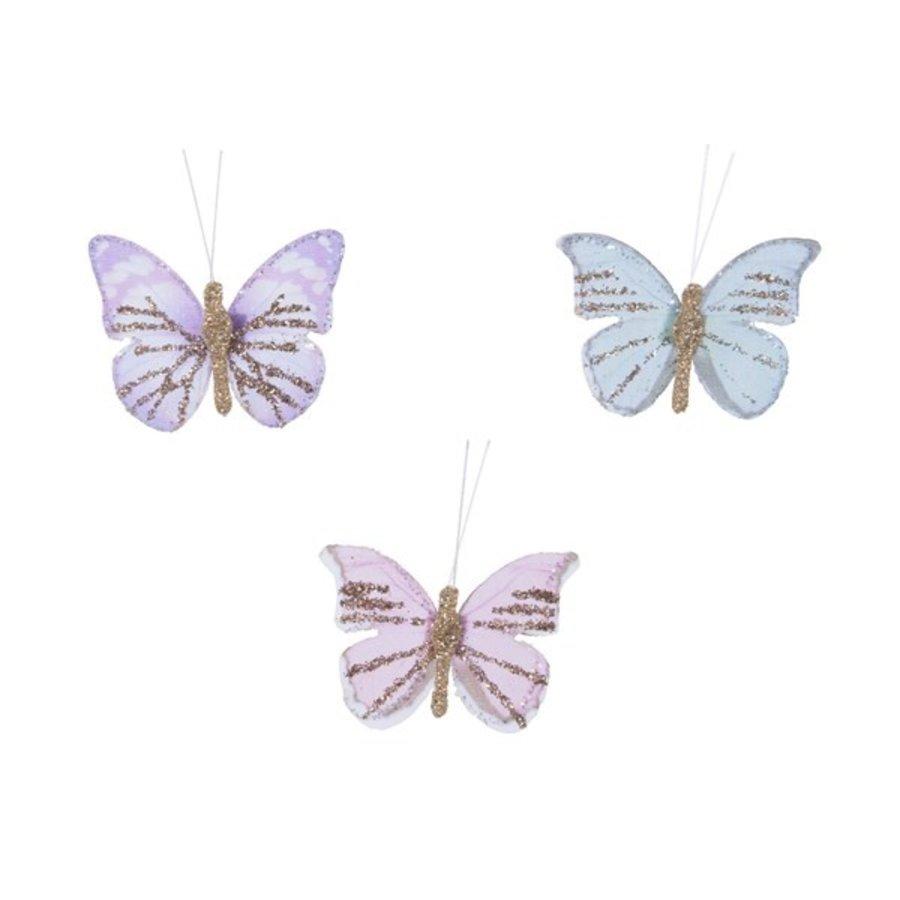 Set/12 vlinders veer glitter-1