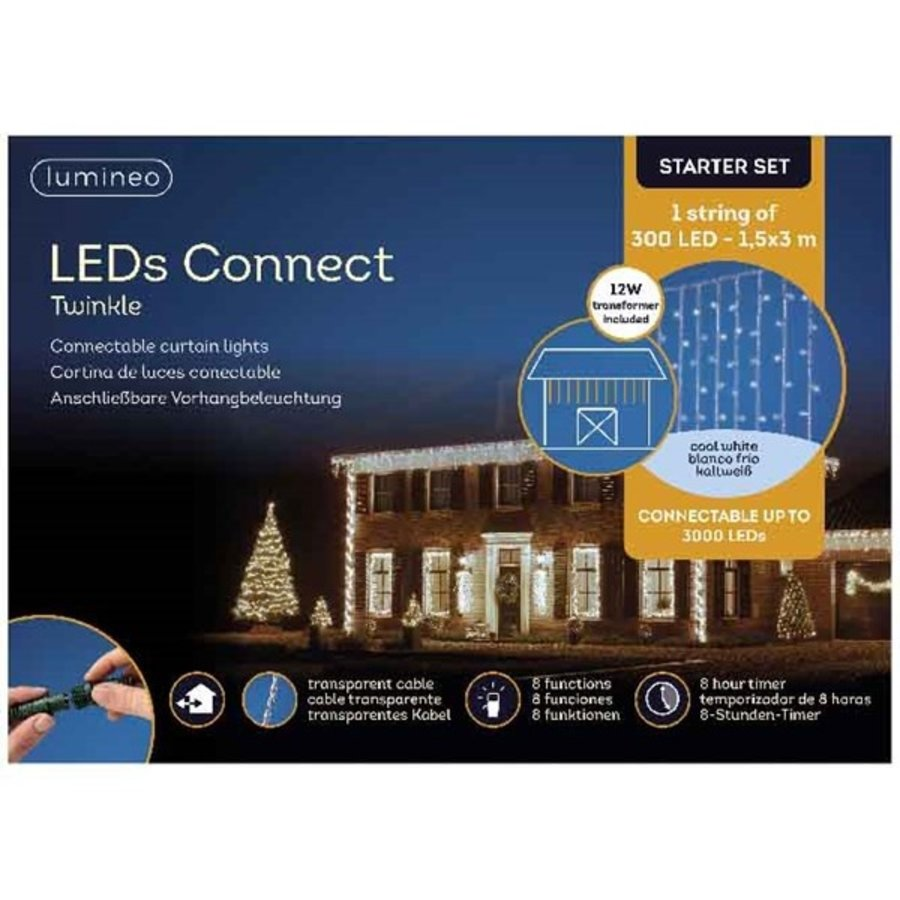 LED curtain Twinkle - transparant - Koel Wit-2