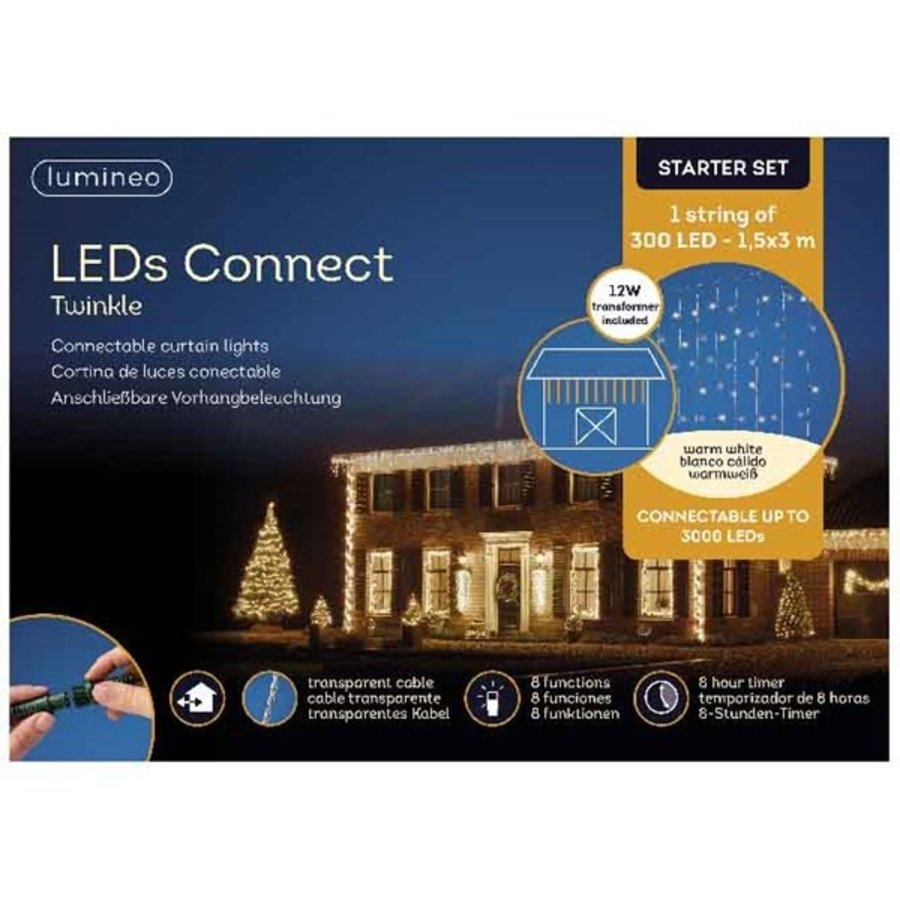 LED curtain Twinkle - transparant - Warm Wit-2