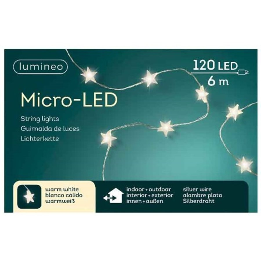 micro LED ster - silver wire - Warm Wit-1