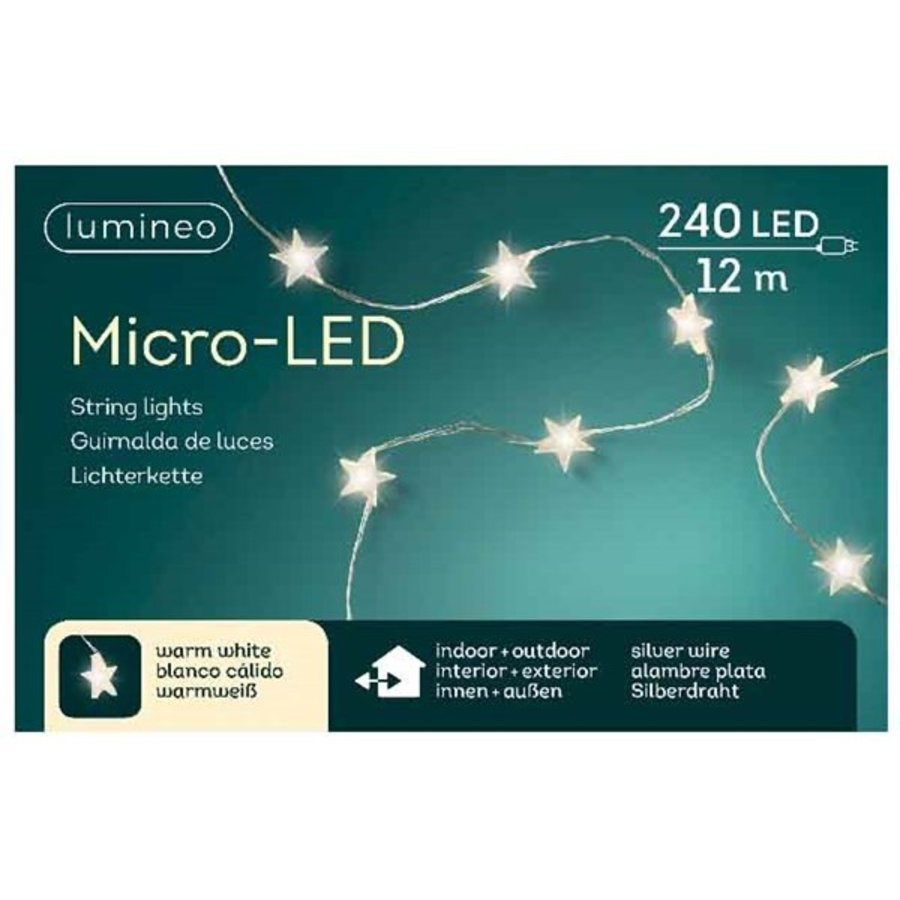 micro LED ster - silver wire - Warm Wit-3