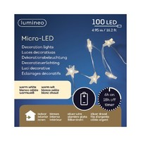 thumb-micro LED ster met timer - silver wire - Warm Wit-3