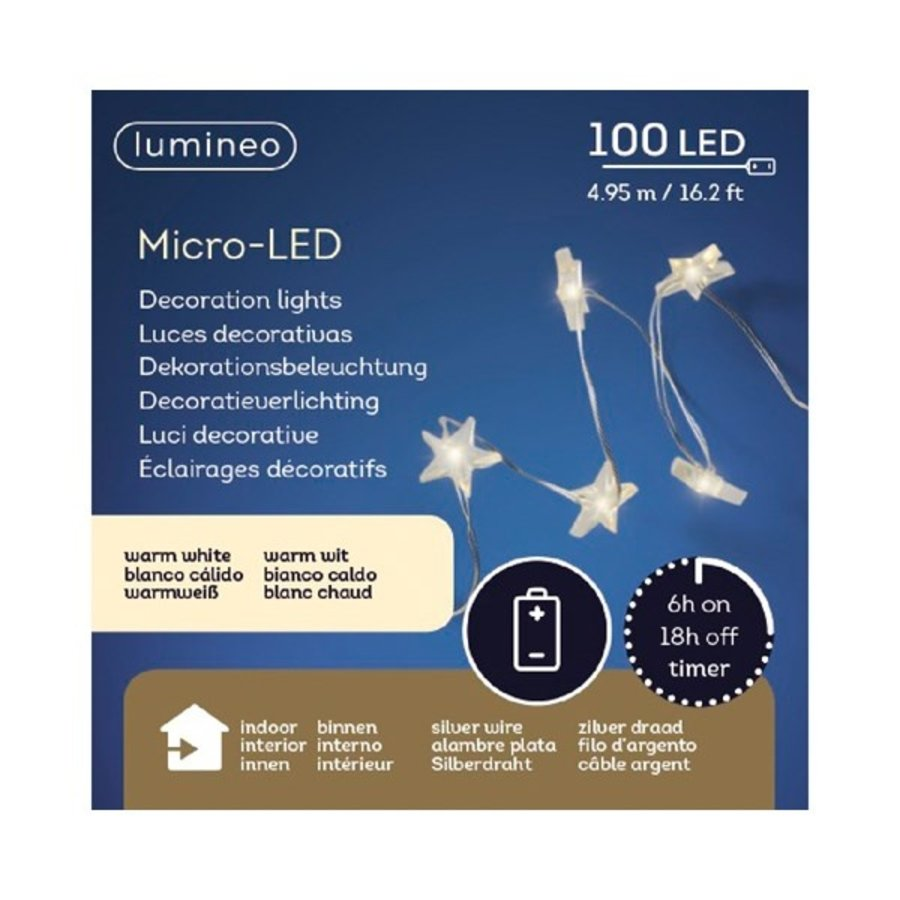 micro LED ster met timer - silver wire - Warm Wit-3