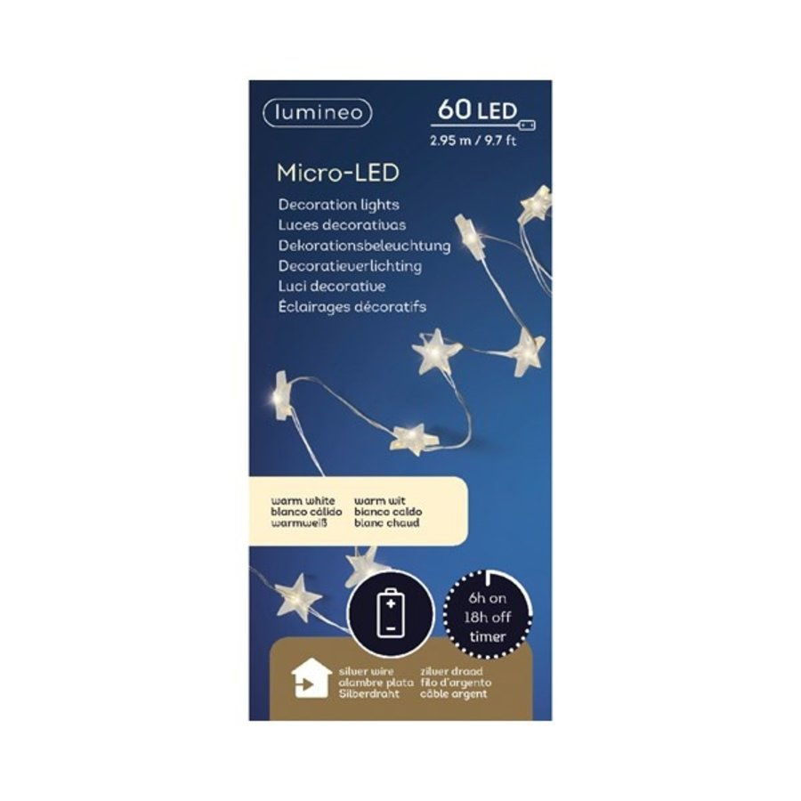 micro LED ster met timer - silver wire - Warm Wit-1