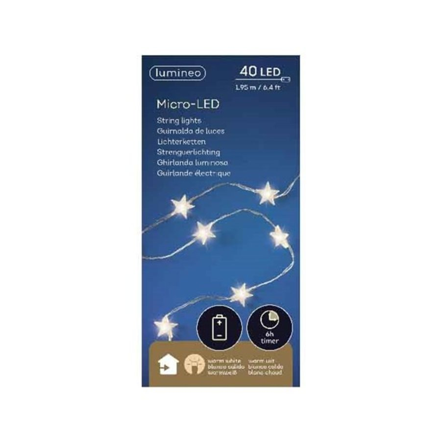 micro LED ster met timer - silver wire - Warm Wit-4