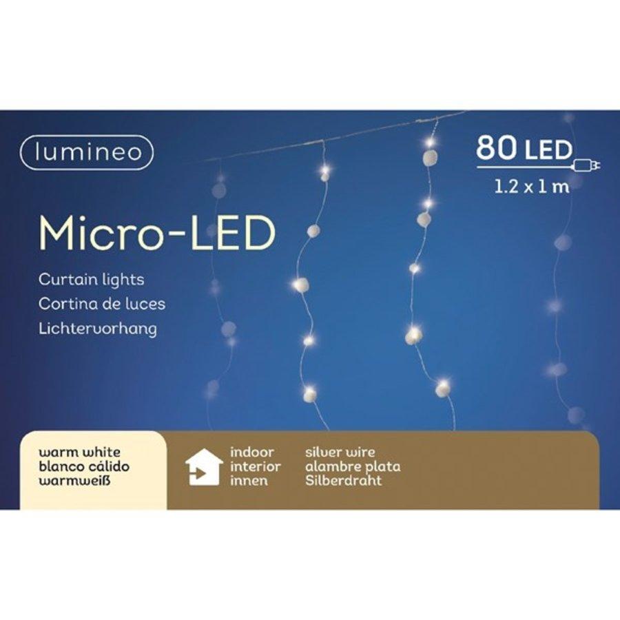 micro LED sneeuwballen gordijn -Warm Wit-1