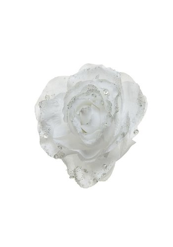 Decoris Roos op clip met glitter, 14cm, winterwit