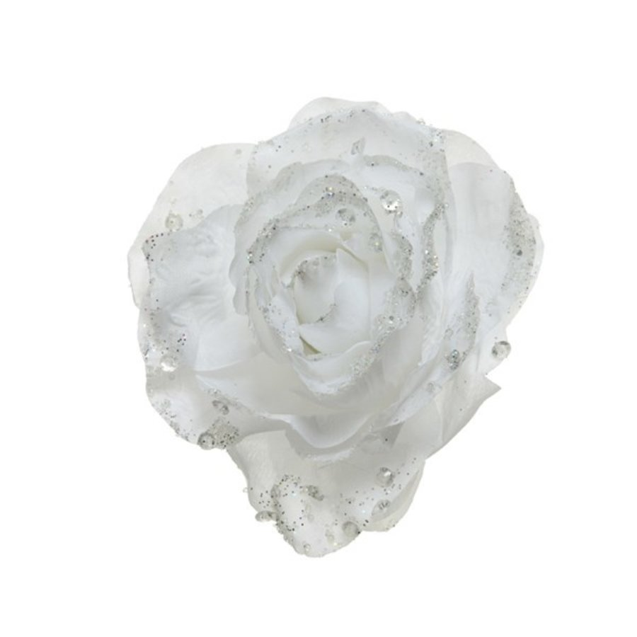 Roos op clip met glitter, 14cm, winterwit-1