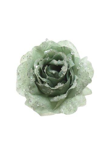 Decoris Roos op clip met glitter, 14cm, saliegroen