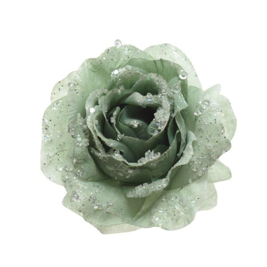 Roos op clip met glitter, 14cm, saliegroen-1