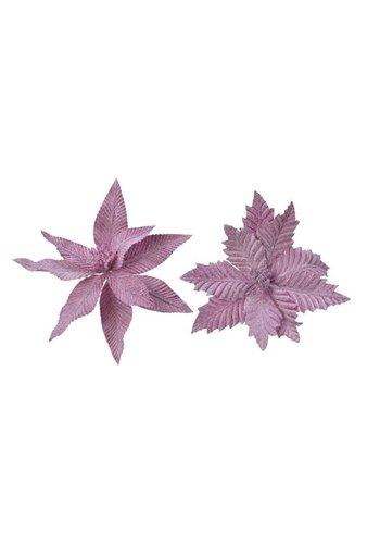 Decoris Poinsettia op clip, lila, 29cm
