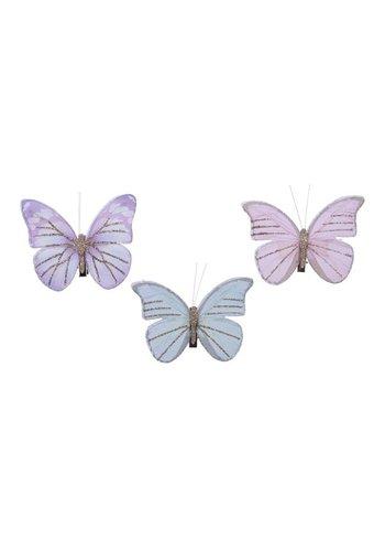 Decoris Set/3 vlinders op clip, 9x7cm