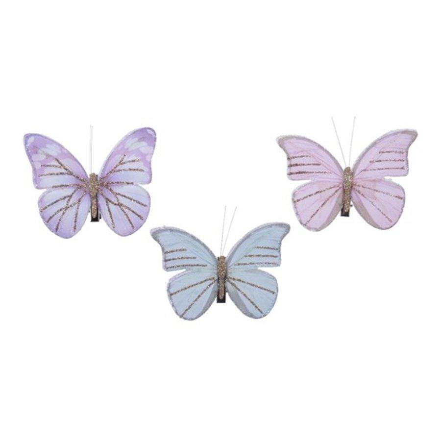 Set/3 vlinders op clip, 9x7cm-1