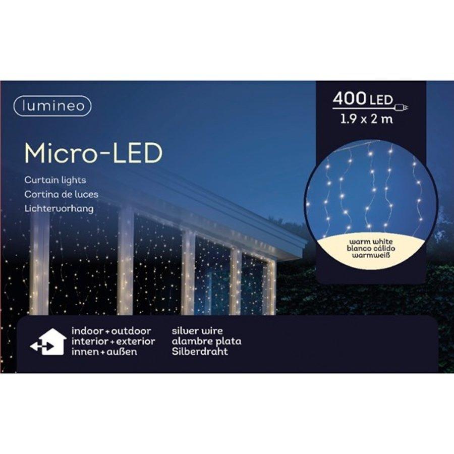 micro LED gordijnverlichting - silver wire - Warm Wit-2