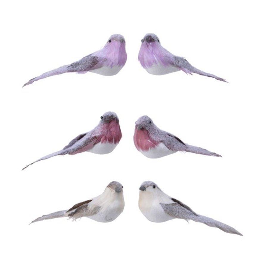 Set/2 vogels op clip, 16cm-1