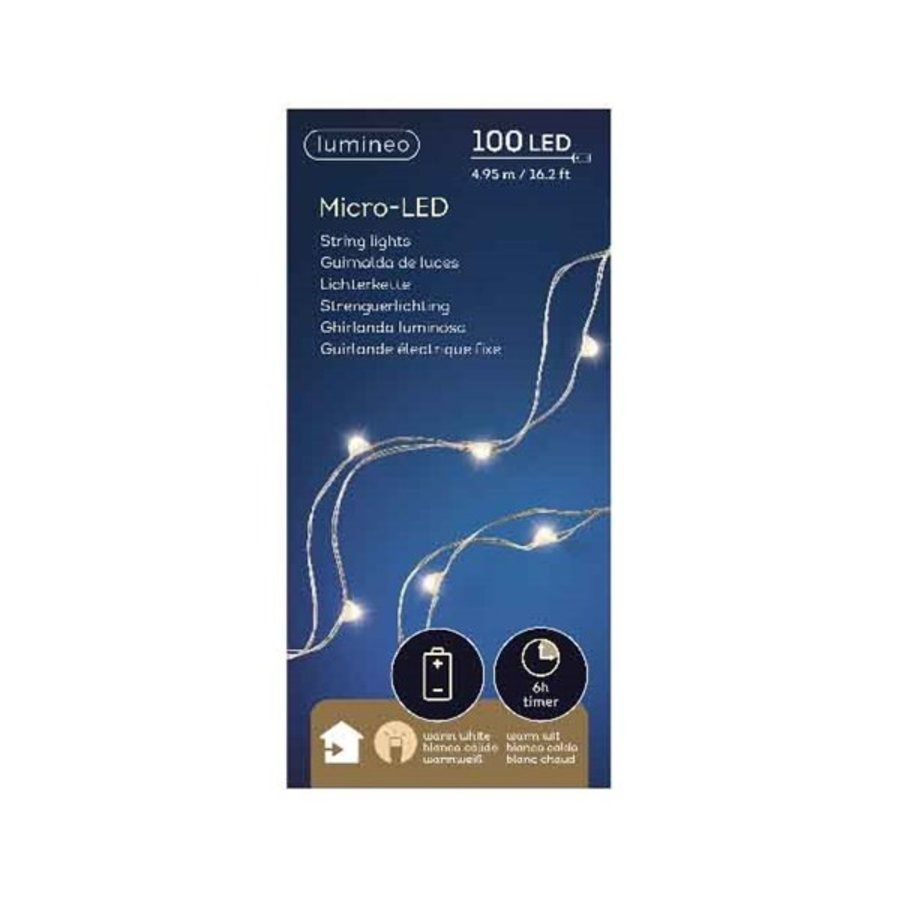 micro LED snoer - silver cable - Warm Wit-2
