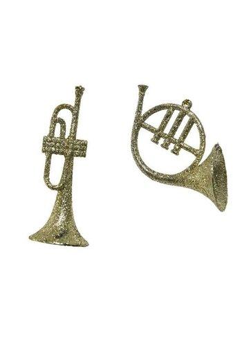 Decoris Trompet plastic glitter, goud