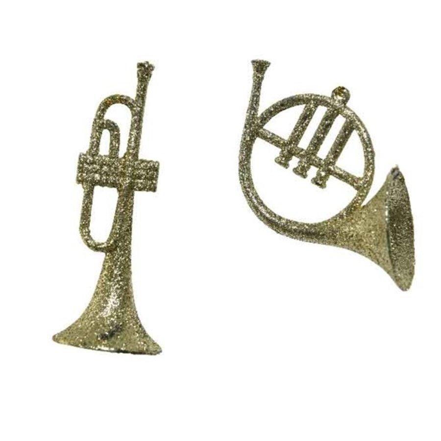Trompet plastic glitter, goud-1