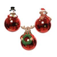 Kerstbal glas figuur 7cm rood