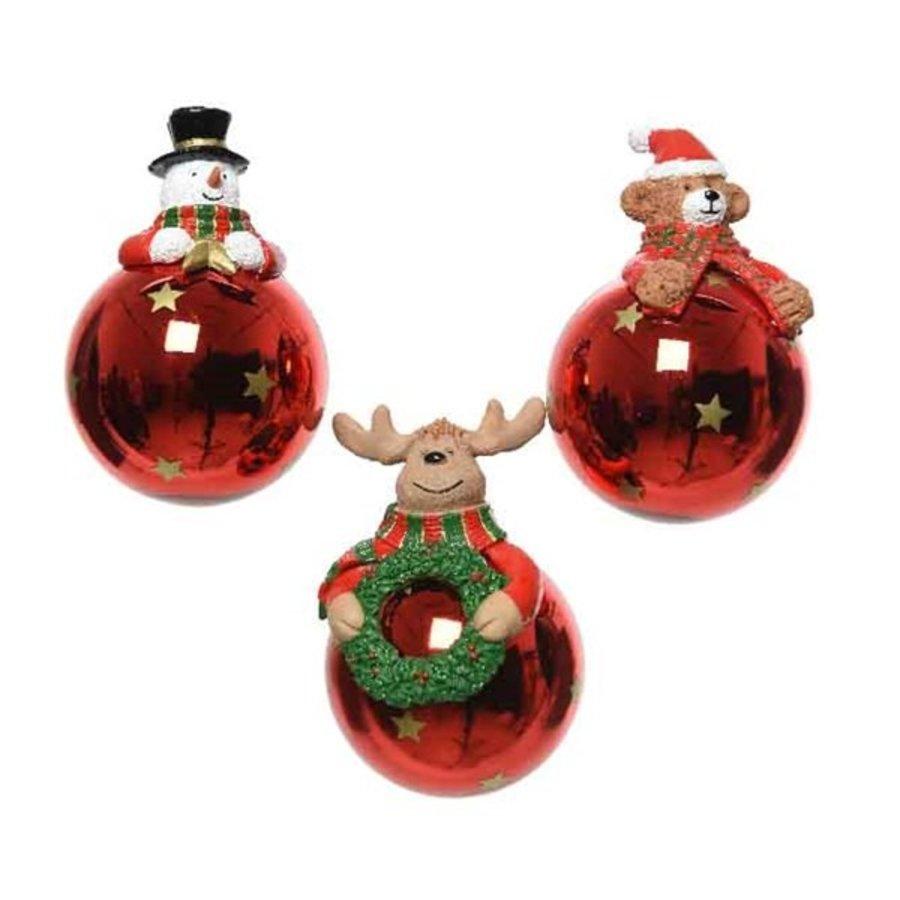 Kerstbal glas figuur 7cm rood-1