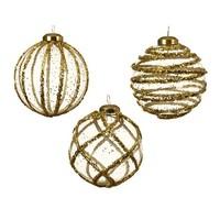 Glazen kerstbal 3D, glitter goud, 8cm
