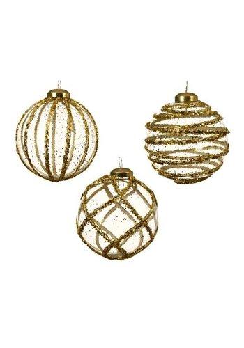 Decoris Glazen kerstbal 3D, glitter goud, 8cm