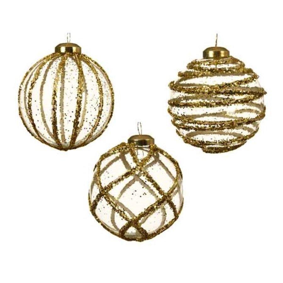 Glazen kerstbal 3D, glitter goud, 8cm-1