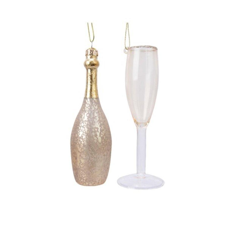 Set glazen champagnefiguur met glas-1