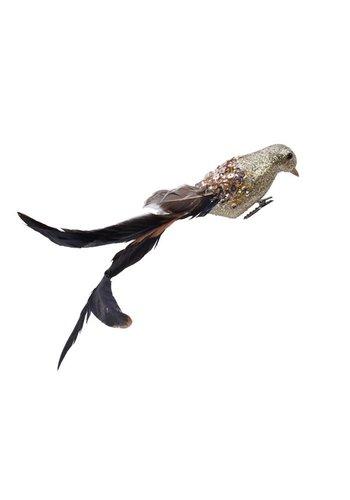 Decoris Vogel foam veer op clip, 22cm, goud