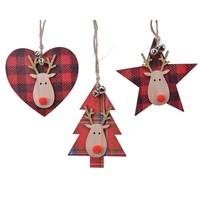 Ornament triplex 9.5cm kerstrood