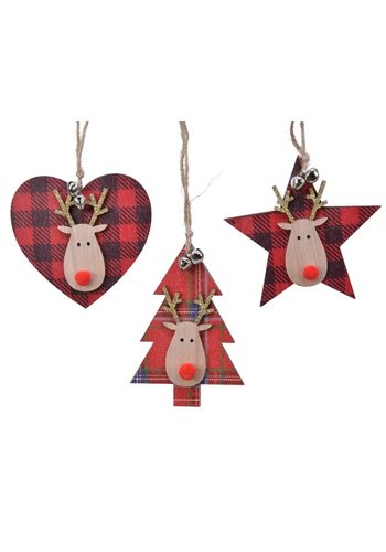 Decoris Ornament triplex 9.5cm kerstrood