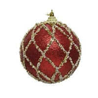 Kerstbal foam met glitter dia 8cm, rood