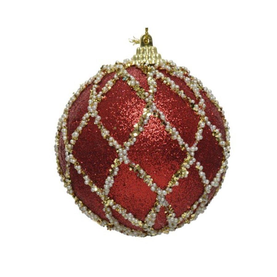 Kerstbal foam met glitter dia 8cm, rood-1